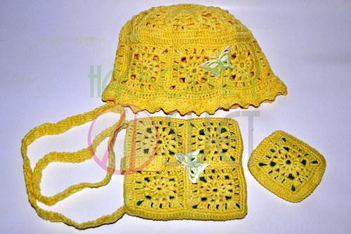 Dívčí klobouček + kabelka - POZOR  SLEVA Z 333,- K