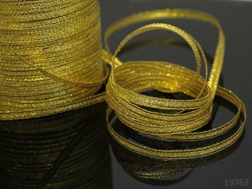 19763 Lurexová stuha zlatá 3 mm, svazek 10m