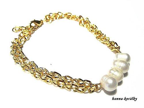 Náramek - řetízek s řadou perel