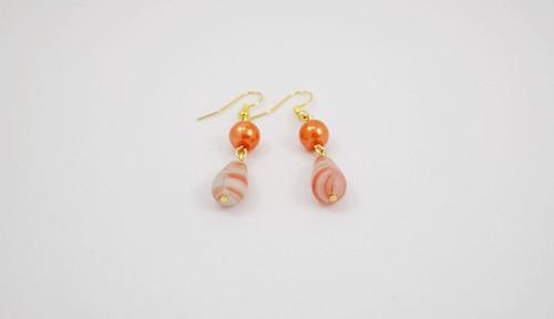 náušnice kapky s oranžovou perlou
