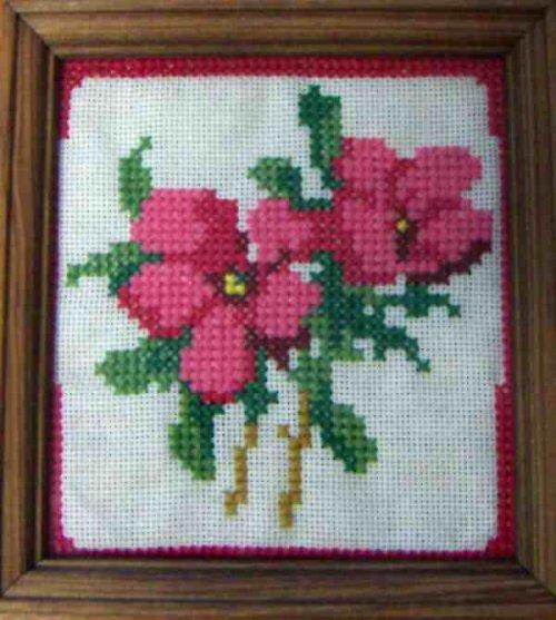 Vyšívaný obrázek - planá růže