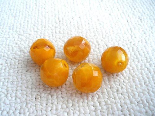 Broušené perle oranžové s krystalem
