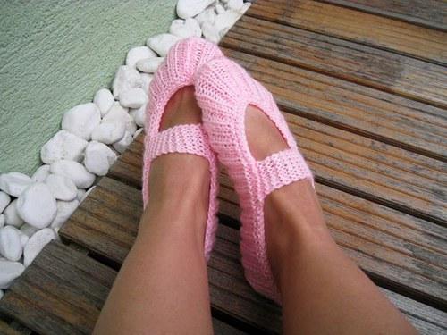 Pletené balerínky - ružová