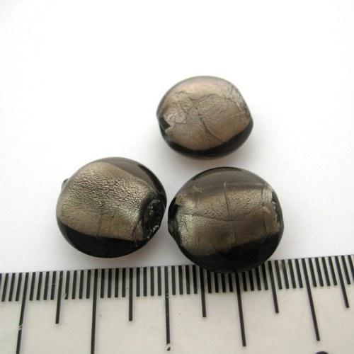 vinutá perla čočka 16mm, black diamond