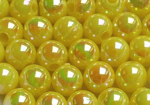 Plastové kuličky duhové 4 mm - sv. žlutá / 20 ks