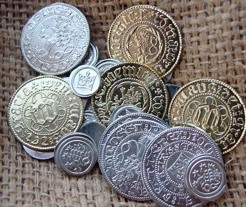 Sada oběživa Čechy středověk 11 mincí