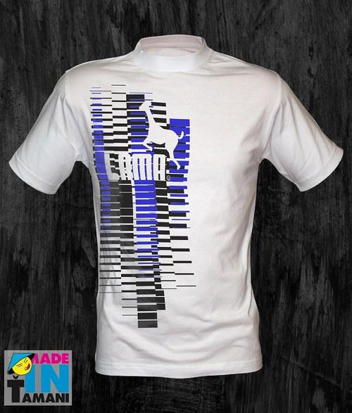 Pánské bílé tričko s Lamou velký potisk