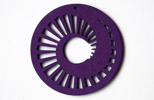 dřevěné kolečko 60 mm- sytě fialové