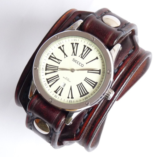 Originální hodinky, hnedé kožený hodinky