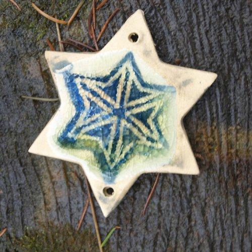 Hvězda zalitá sklem se 2 dírkami-velká sleva