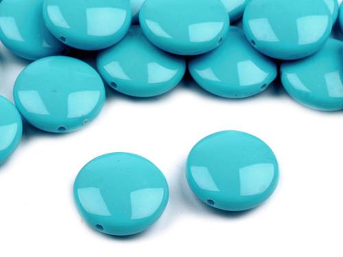Plastové korálky 16mm placka / modré (10 ks)