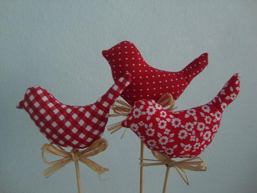 Ptáčci - červená sada zápich