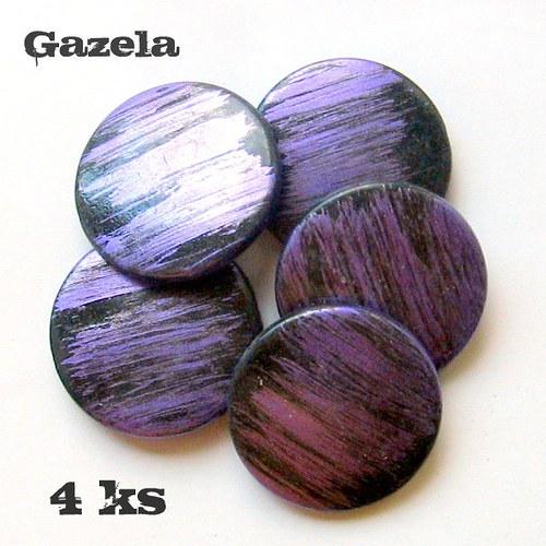 Žíhaná fialová kolečka - 4 ks