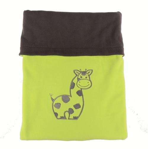 Dvojitá fleece deka s výšivkou - žirafa