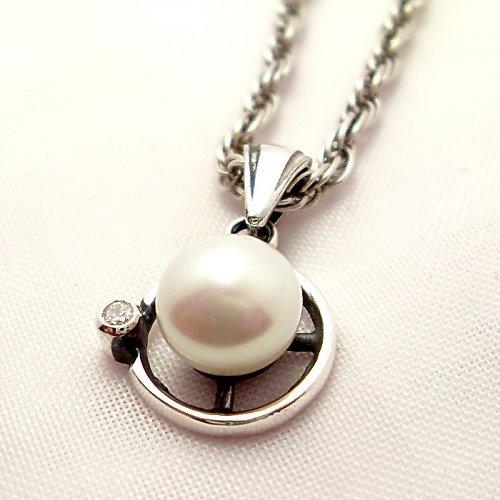 Přívěsek «Afrodita» - bílá perla, stříbro