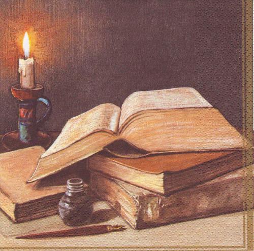 Ubrousek - knihy a svíčka