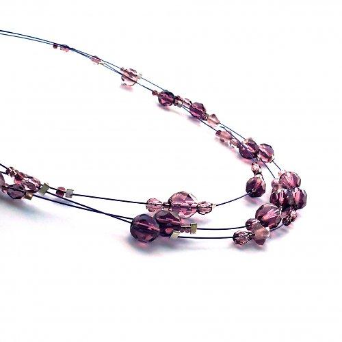 Fialový třířadý náhrdelník