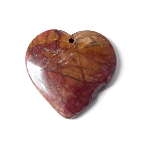 Jaspis picasso - kabošon srdce - 40x40x4 mm