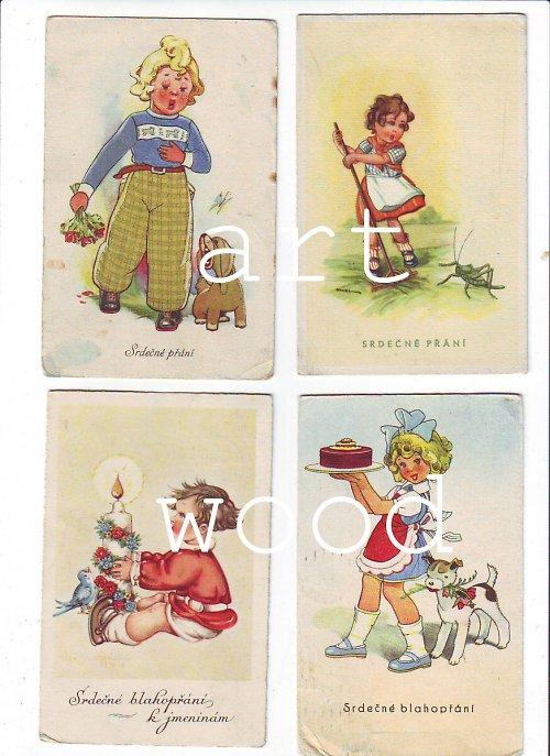 4x MALOVANÉ DÍVENKY pohlednice č. 688