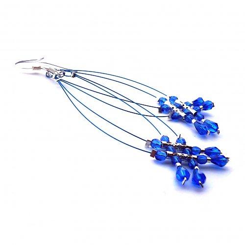 Modré dešťové náhrdelníčky do oušek I.