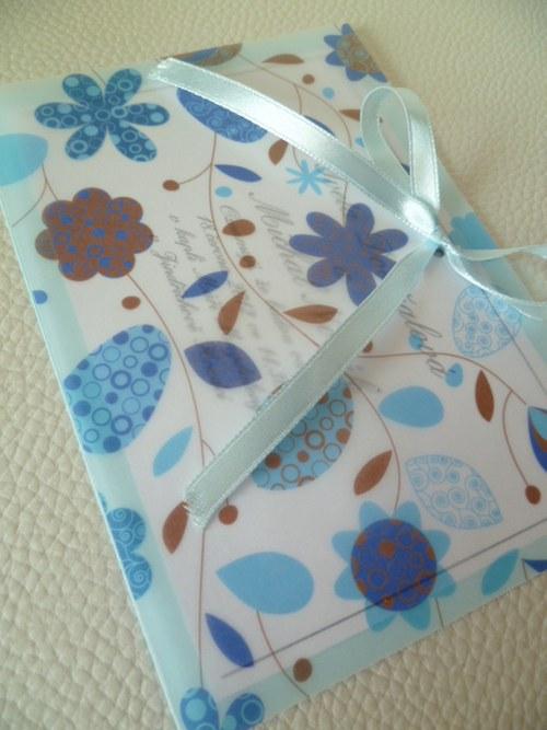 modré svatební oznámení,pergamenový papír