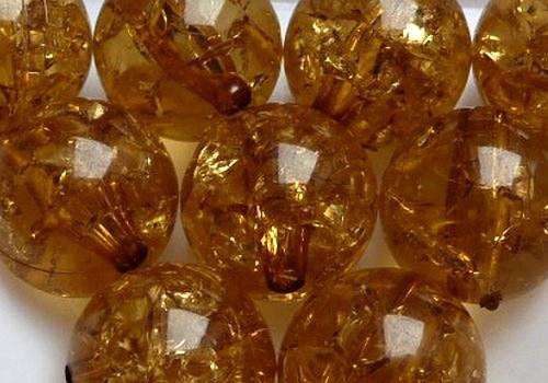 Plast. kraklovaná kulička 12 mm - medová / 2 ks