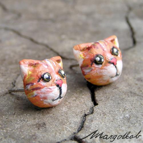 Kočky: náušnice kočička zrzka