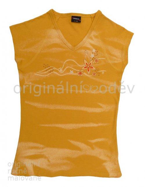 Malované tričko dámské - květy - žluté