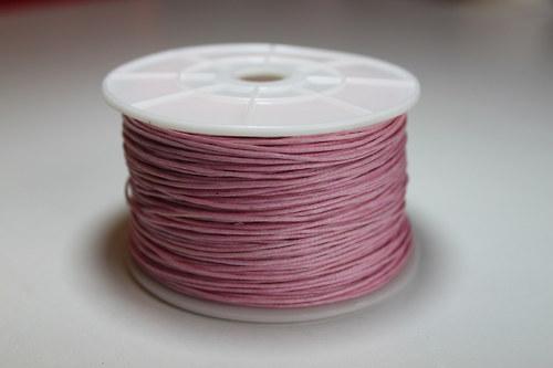 Voskovaná bavlněná šňůrka růžová - 1m