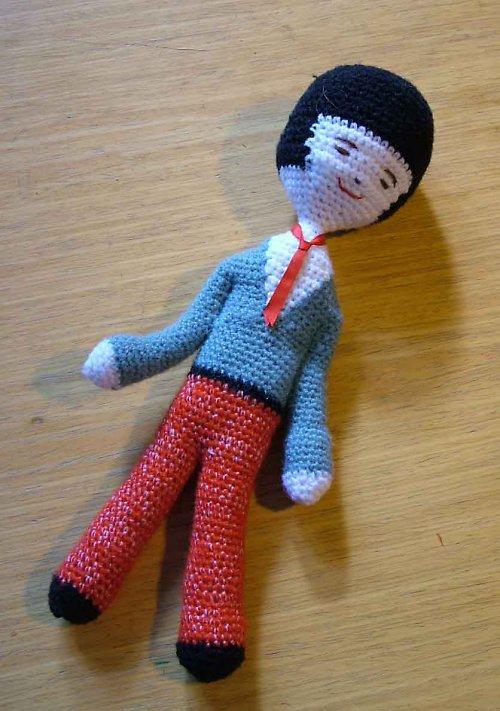 Japonský chlapeček - háčkovaná panenka