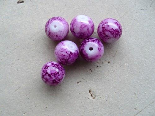 kuličky růžové batikované 10mm - 10ks