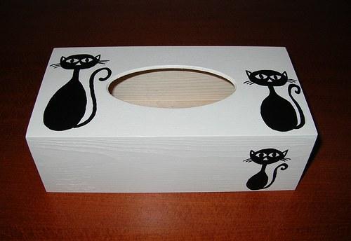 Krabička na kapesníky- černé kočky