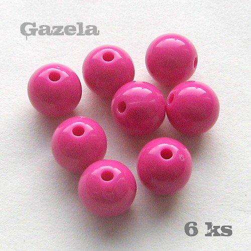 Korálek plastový tmavě růžový - 6 ks