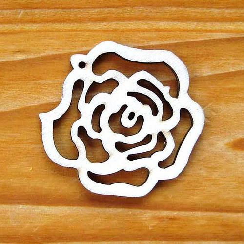 Dřevěná Růže 50mm - Přírodní