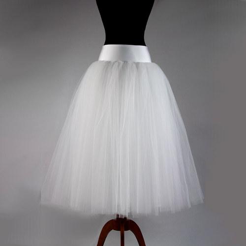 Bohatá svatební tylová sukně bílá