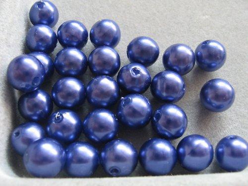 Voskové korálky - tmavě modrá 8 mm / 25 ks