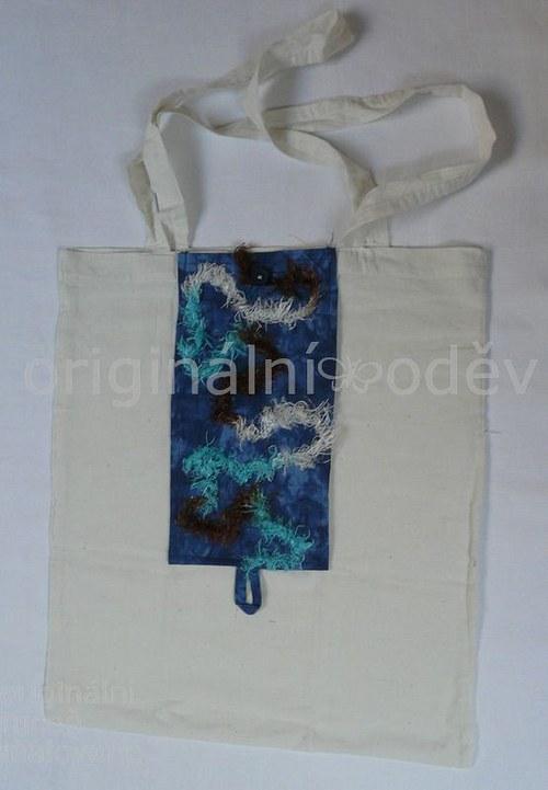 nákupní taška sbalená v patchworku-7 - ZLEVNĚNO