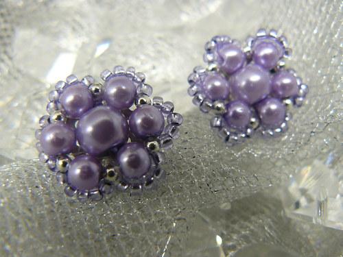 Puzetové, perličkové náušnice v barvě lila