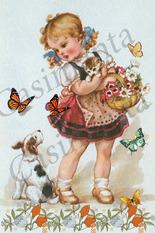 Holčička s kočičkou a pejskem - vintage motiv