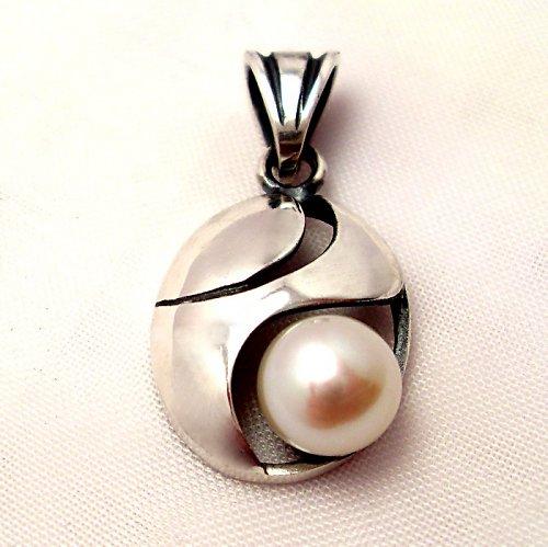 Přívěsek «Břízový vítr» - bílá perla, stříbro
