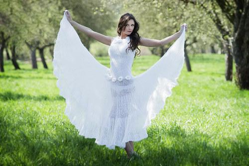 Popis - návod na pletené svatební šaty Dream