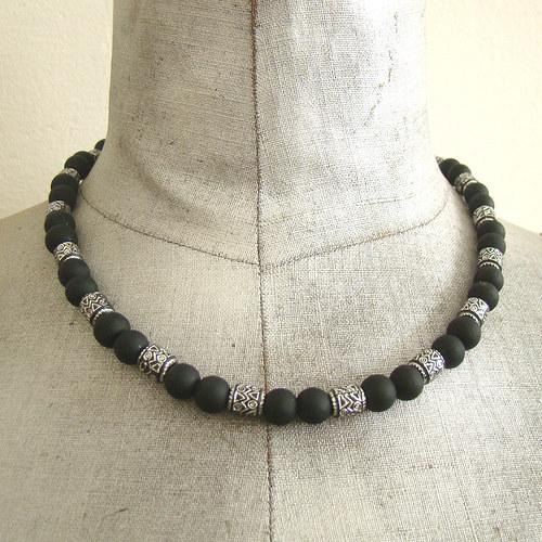 náhrdelník černostříbrný unisex