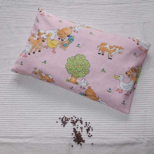Pohankový polštářek - růžová farma - 40x25 cm