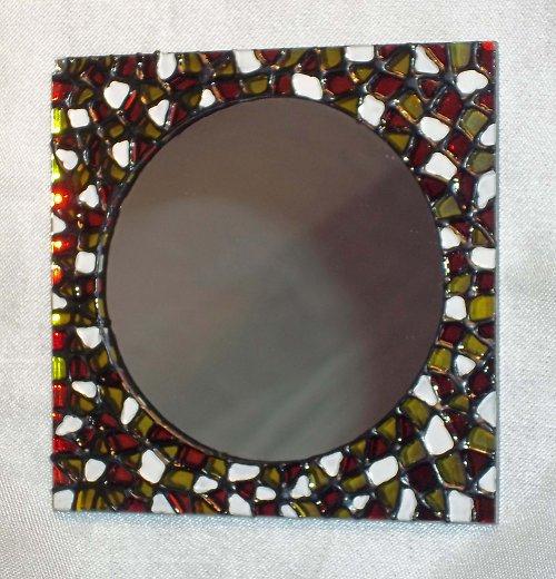 Malované kapesní zrcátko - čtvercové