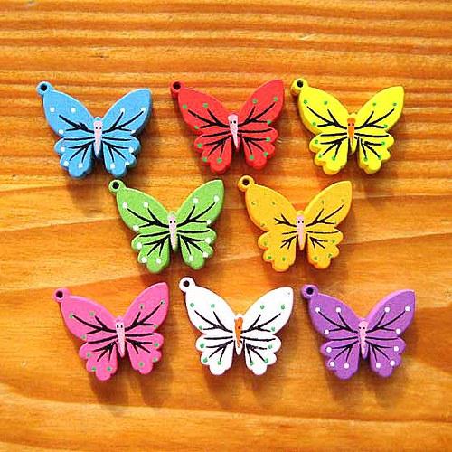 Dřevěný Motýl - 2ks - Oranžový