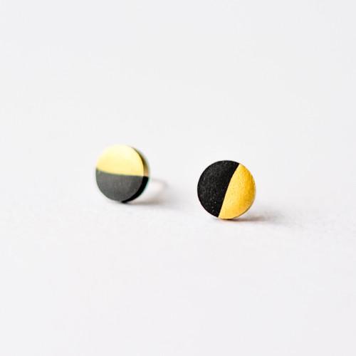 Černo-zlaté geometrické kulaté náušnice