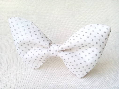 White bow tie with silver dots