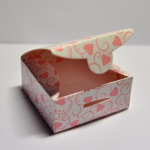 2 Krabička srdíčka - růžová 50mm