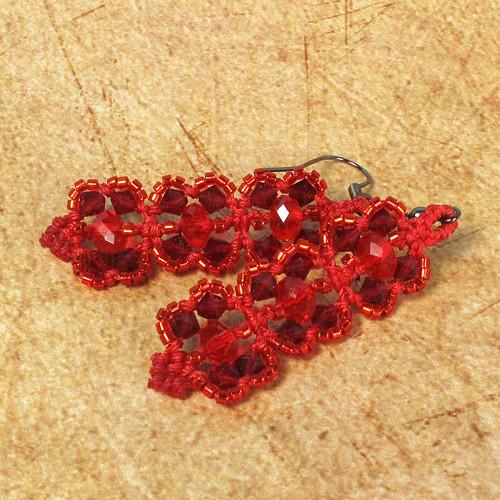 Macramé náušnice Karolína červené
