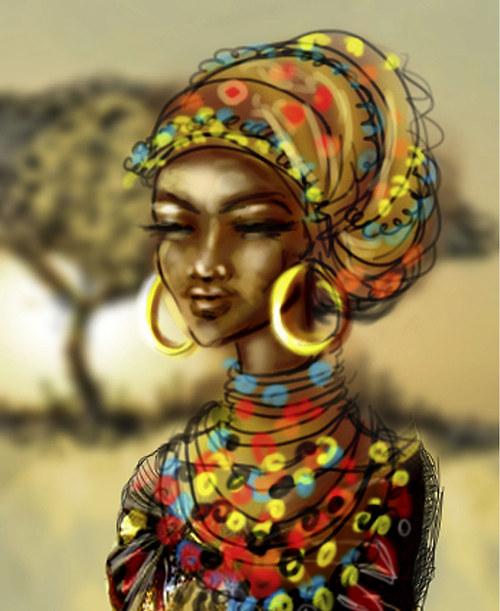 Afričanka 45x55 cm